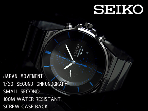 Seiko Chronograph SNDD Black (สาย Stainlss รมดำ) SNDD59P