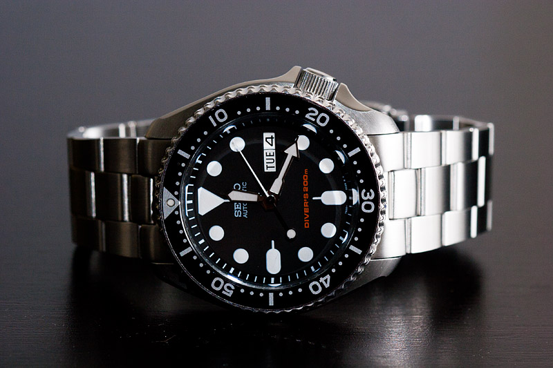 นาฬิกา Seiko Automatic Black Diver Watch 200m SKX007K Oyster Strap