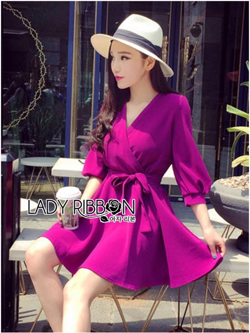 Lady Ribbon's Made Lady Stella Sexy Vivid Color Wrap Dress with Ribbon สีม่วง