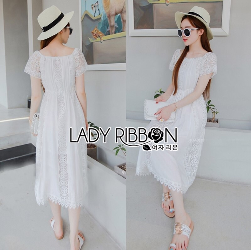 Lady Ribbon's Made Lady Emilia Bohemian Off-Shoulder Embroidered Cotton Lace Maxi Dress