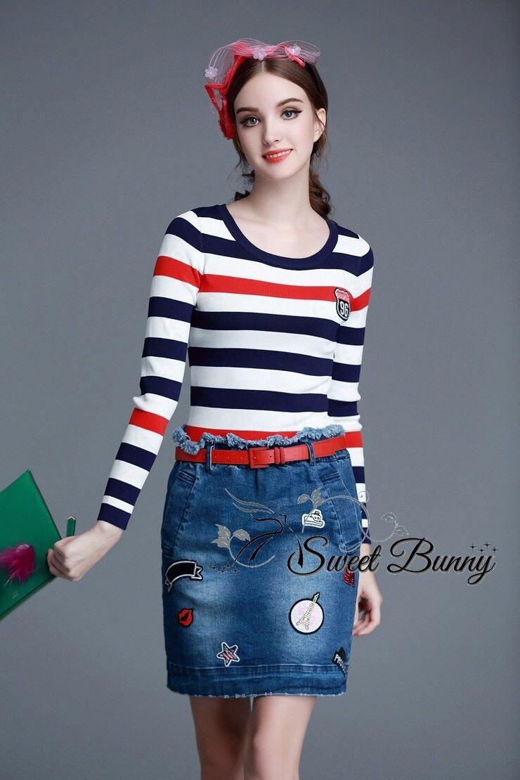 Petite stripe bottom front denim dress by Sweet Bunny