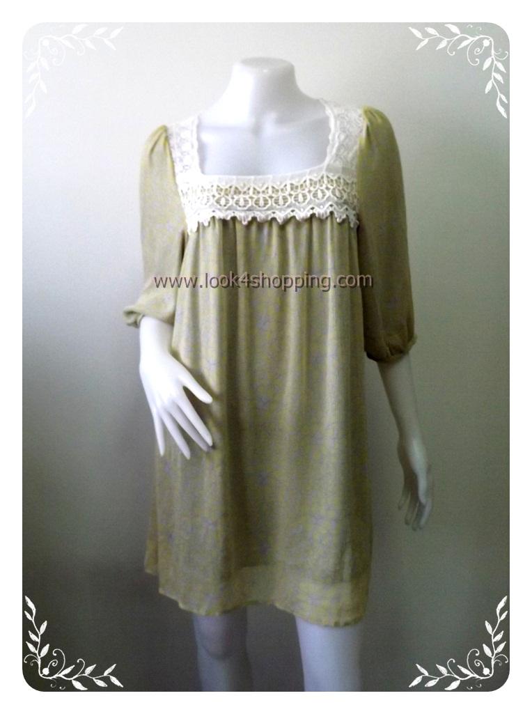 """Dress0302--เดรสแฟชั่น ชีฟอง สีลายเทาเหลือง C.D.S BASIC """"อก 35-38 นิ้ว"""""""