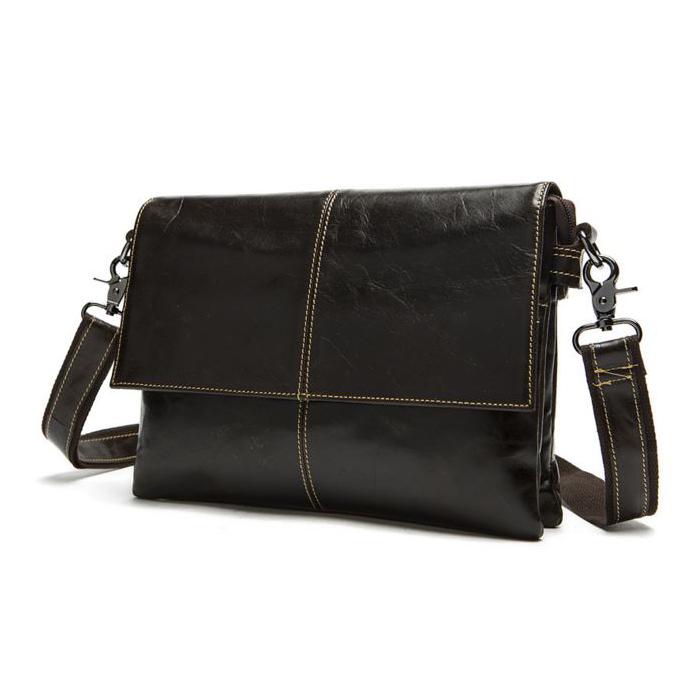 OP-2821 กระเป๋าหนังแท้ สะพายข้าง สีน้ำตาลดำ