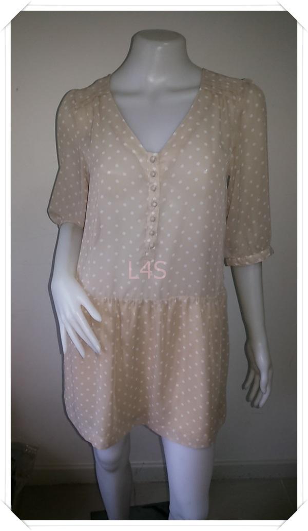 Dress0820--เดรสแฟชั่น ชีฟอง สีกากีลายจุด อก 35 นิ้ว