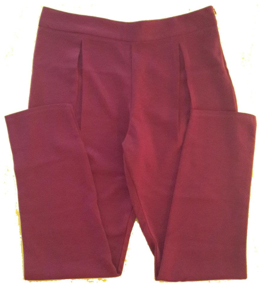กางเกงขายาวผ้าฮานาโกะ ขาเดฟเอวสูงจีบทวิตหน้า สีเลือดหมู Size S M L XL