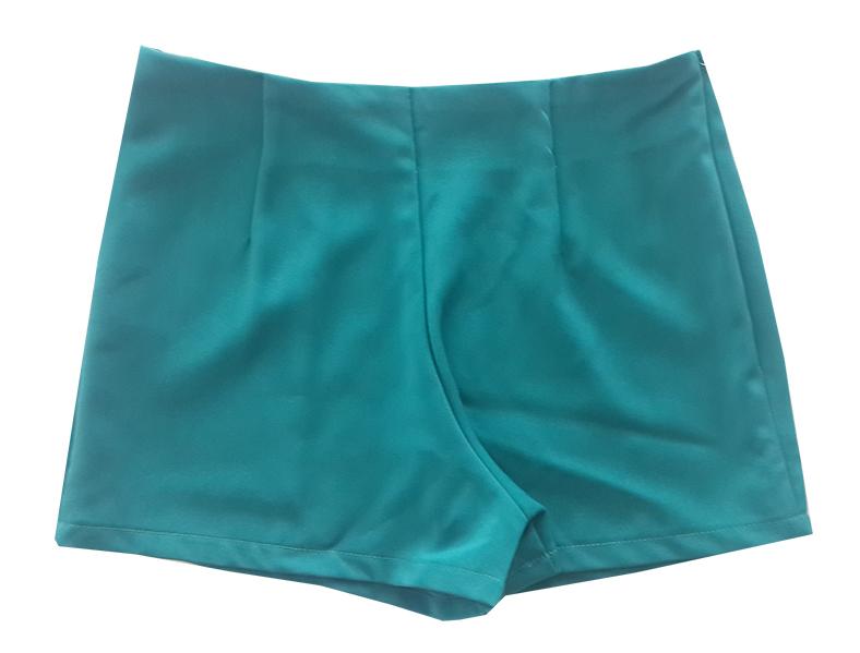 กางเกงขาสั้นเอวสูงขอบเรียบผ้าฮานาโกะ ซิปซ้าย กระเป๋าขวา สีเขียวน้ำทะเล Size S M L XL