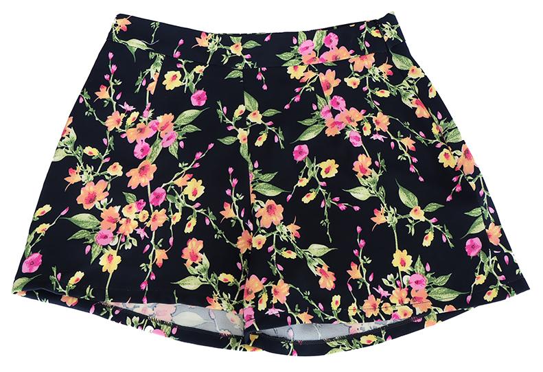 กางเกงขาสั้นเอวสูงผ้าฮานาโกะลายดอกสีพื้นดำ กระเป๋าขวาซิปซ้าย Size S M L XL