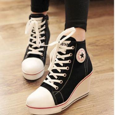 รองเท้าแฟชั่นผูกเชือกส้นสูง8cmสไตล์เกาหลี
