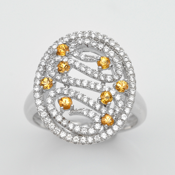 แหวนพลอยแท้ แหวนเงินแท้ 925 ชุบทองคำขาว ฝังพลอยบุษราคัม ล้อมเพชร CZ เกรดพรีเมี่ยม