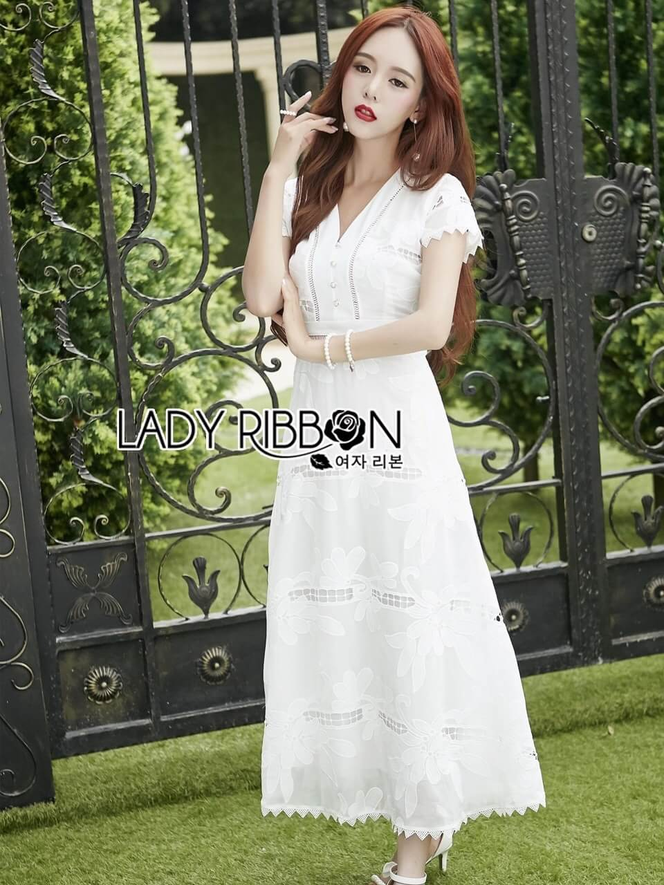&#x1F380 Lady Ribbon's Made &#x1F380 Lady Hana Classic Feminine Lace Maxi Dress in White