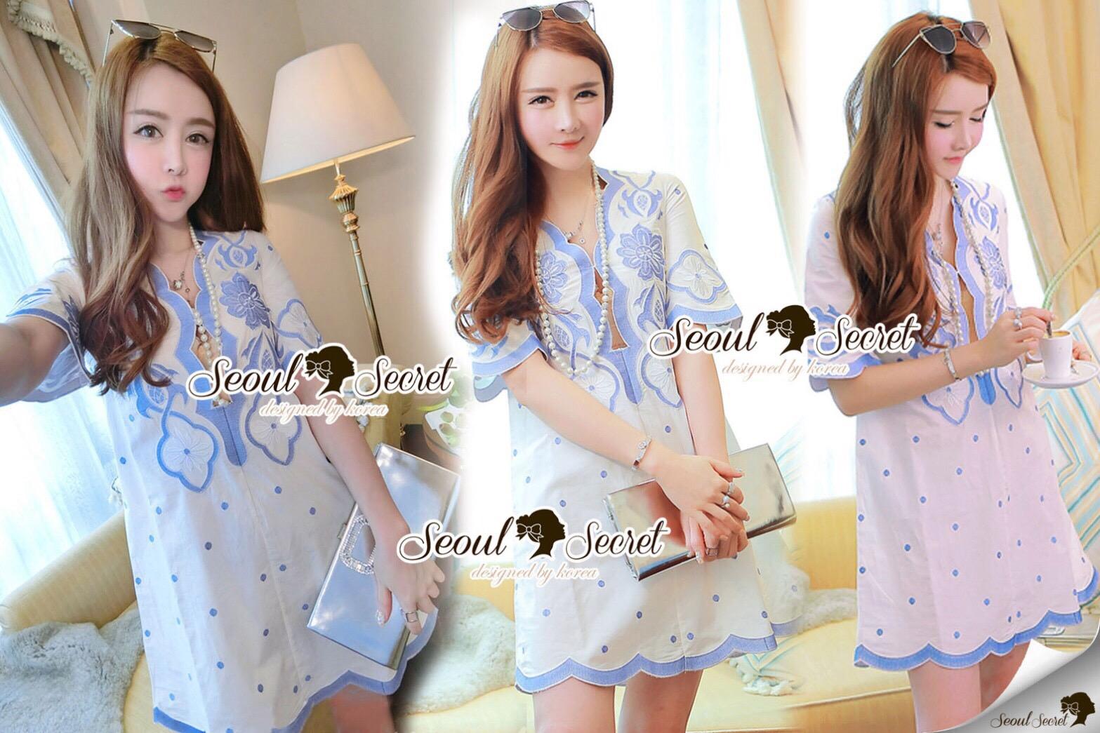 Lady Ribbon Korea Brand SS14300416 Seoul Secret Say's .... Dotty Dotty Pastel Blue Curvly Dress