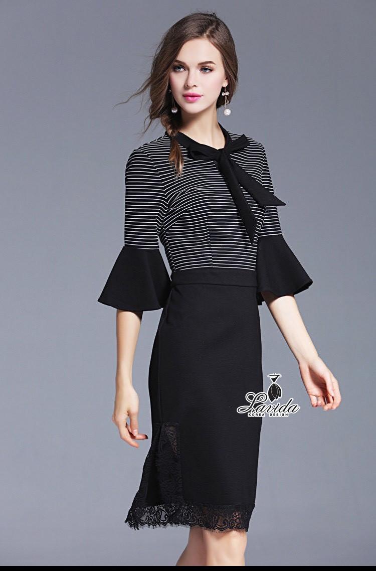 Korea Design By Lavida Fashionable bow collar striped print dress code854