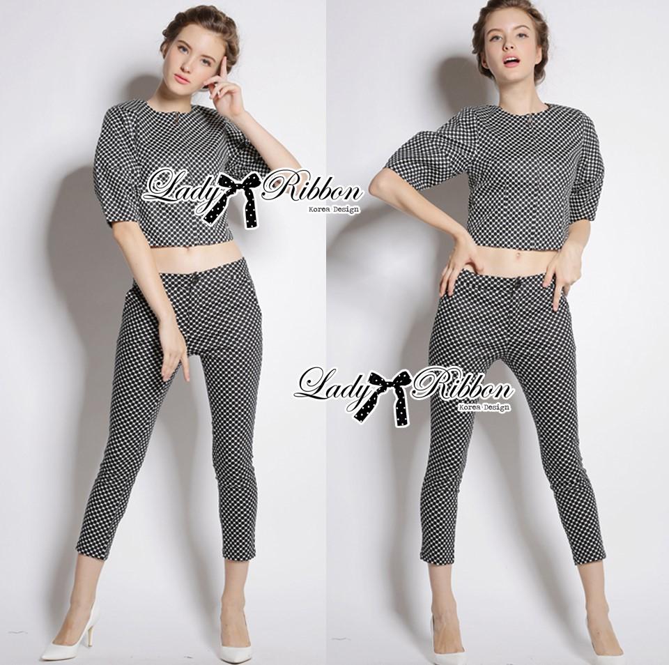 &#x1F380 Lady Ribbon's Made &#x1F380 Lady Clara Polka Dot Zip-Up Jacket and Pants Set