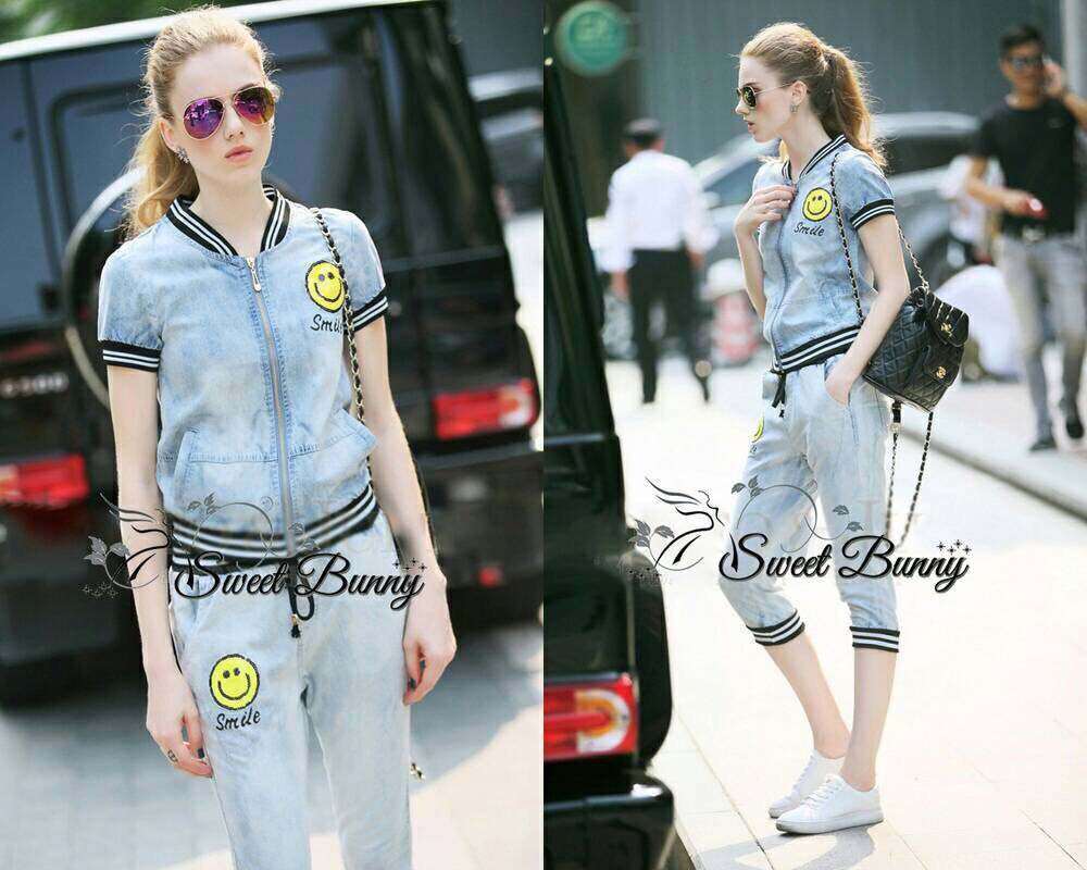 Lady Ribbon Korea Closet SB 03300516 Sweet Bunny Present... Petite Smile Jacket Denim Set