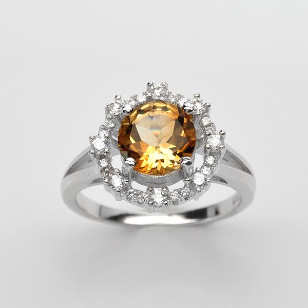 แหวนพลอยแท้ แหวนเงิน925 พลอย ซิทริน ประดับเพชร CZ ชุบทองคำขาว รหัสสินค้า: 001107