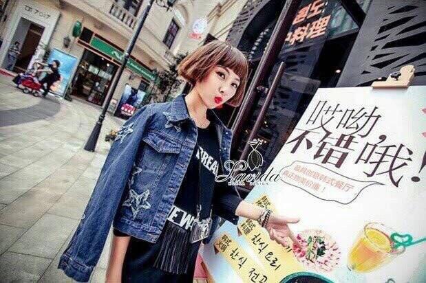 Korea Design By Lavida striped prison stars denim jacket