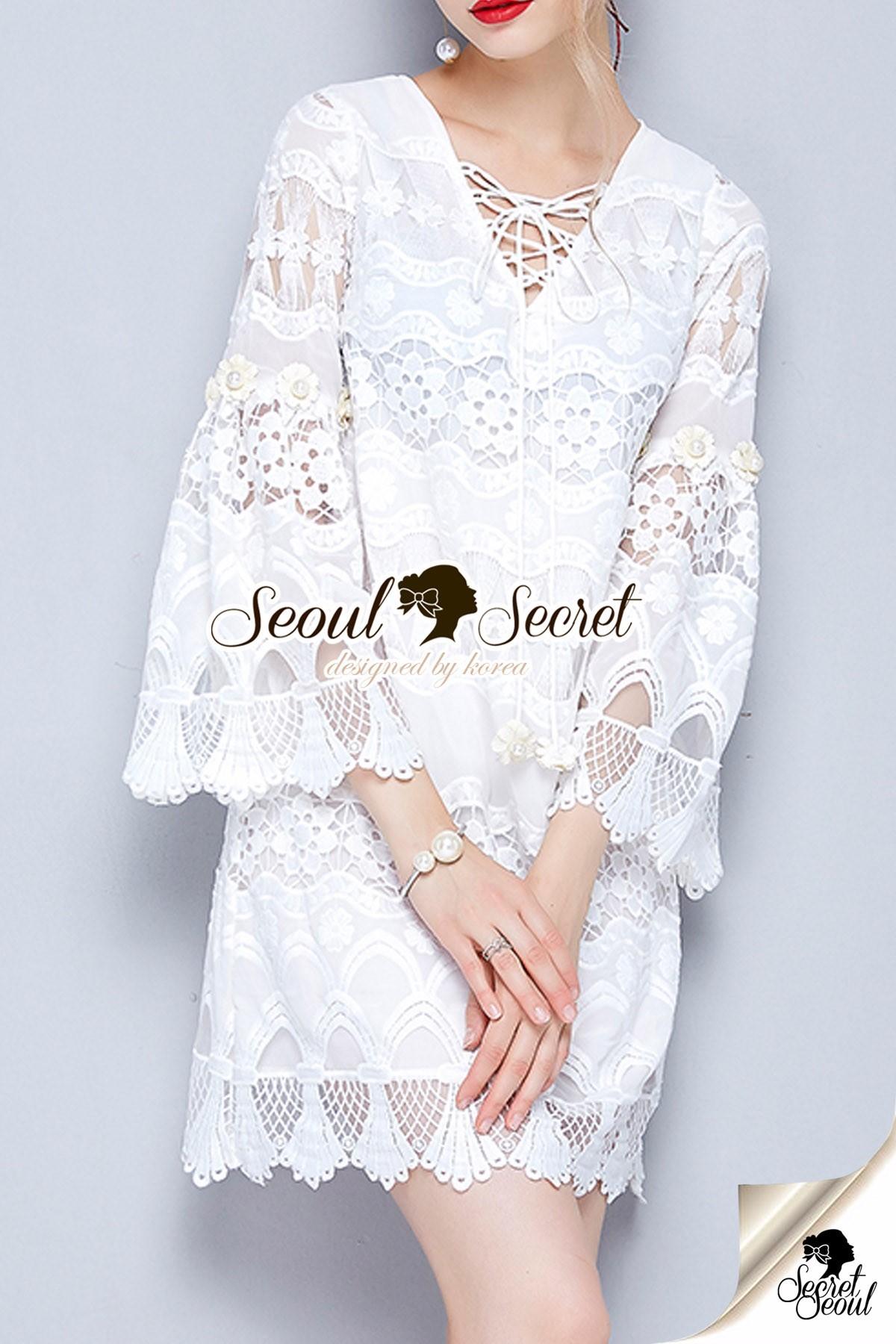 Seoul Secret Say's... Ivory Bohe Roppy Dress