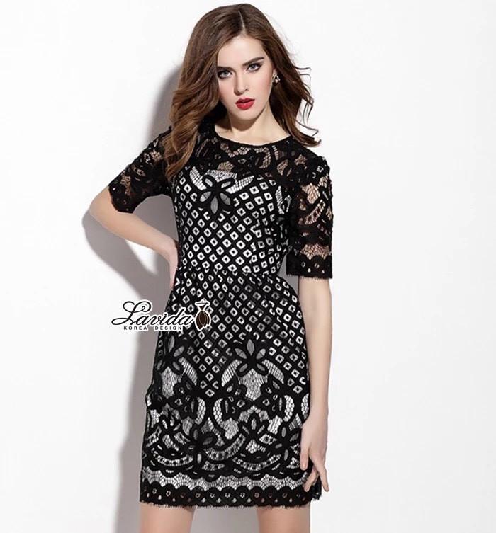 Korea Design By Lavida Noble blossom hollow lace pretty dress code1779