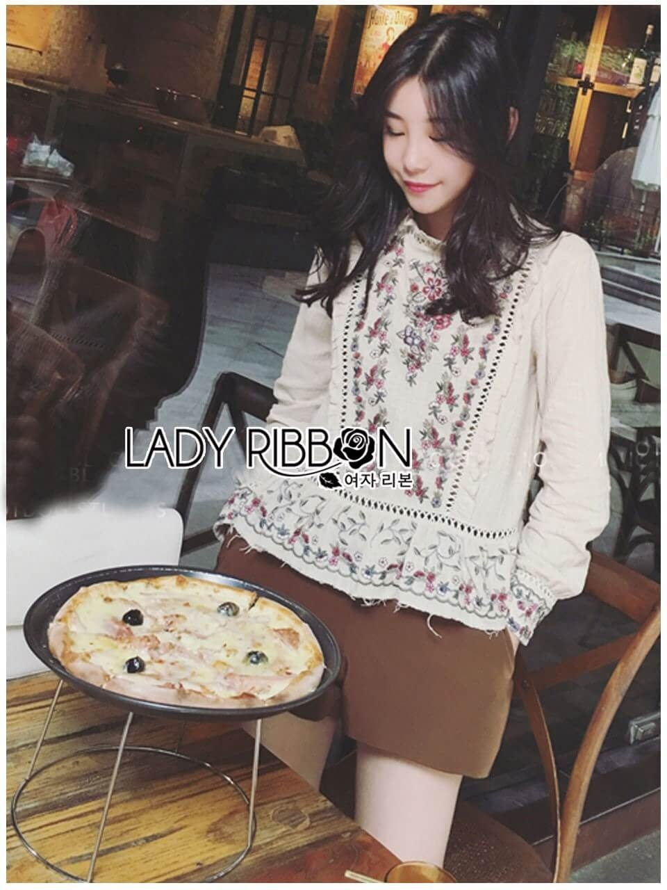 &#x1F380 Lady Ribbon's Made &#x1F380 Lady Amy Feminine Ruffle Flower Embroidered Linen Zara's Blouse