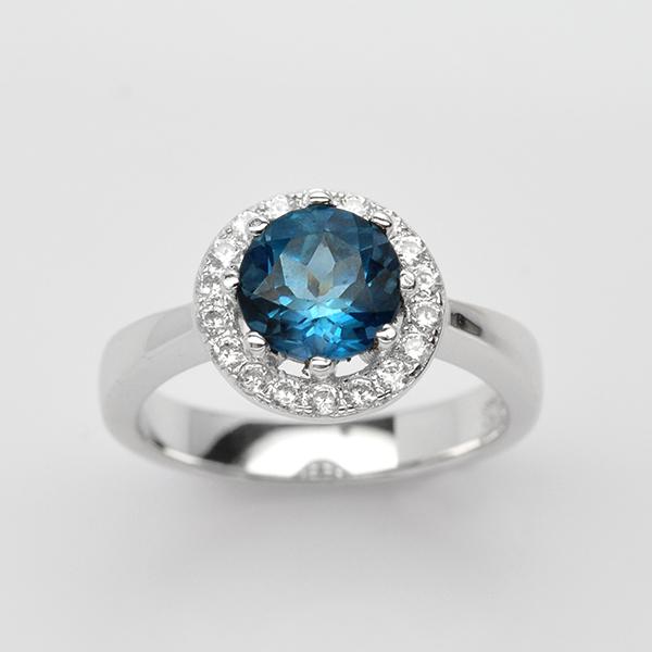 แหวนพลอยแท้ แหวนเงิน925 ชุบทองคำขาว ฝังพลอยโทแพซ ประดับเพชร CZ