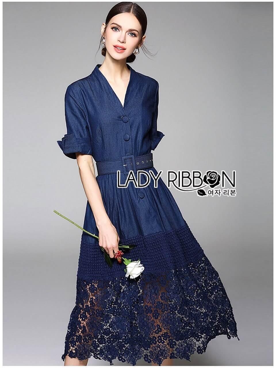 &#x1F380 Lady Ribbon's Made &#x1F380 Lady Elsa Dark Navy Blue jean and Lace Shirt Dress