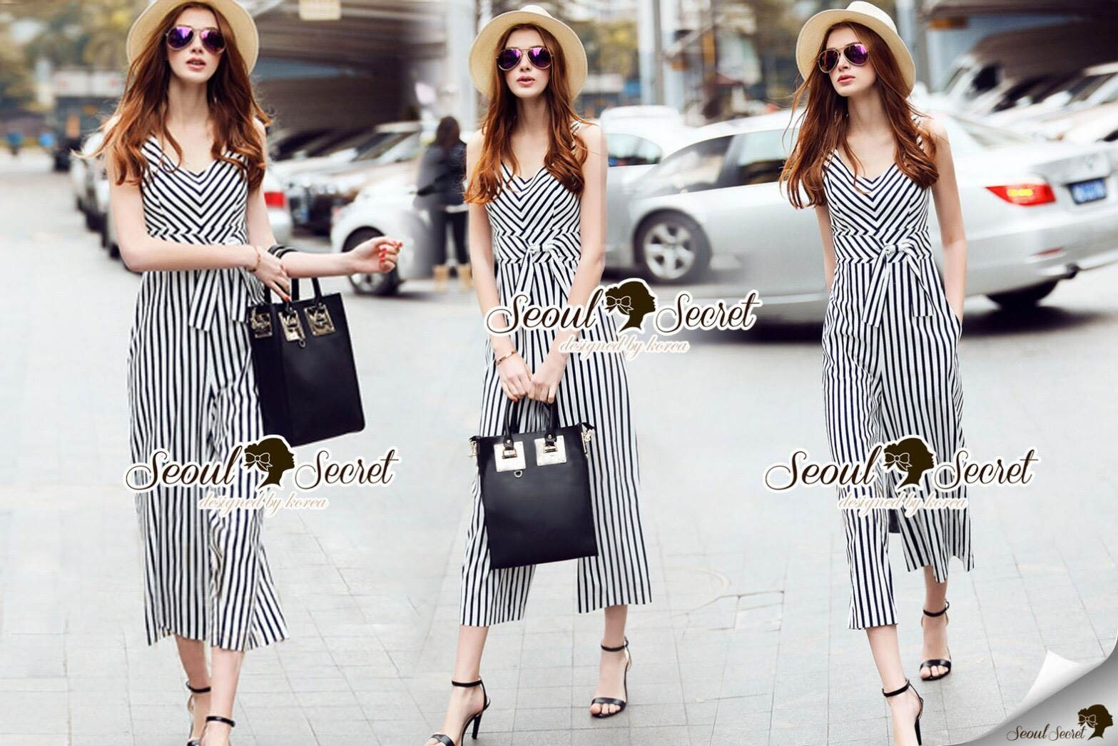 Seoul Secret Say's... Nifty Stripy Bowwy Waist Playsuit