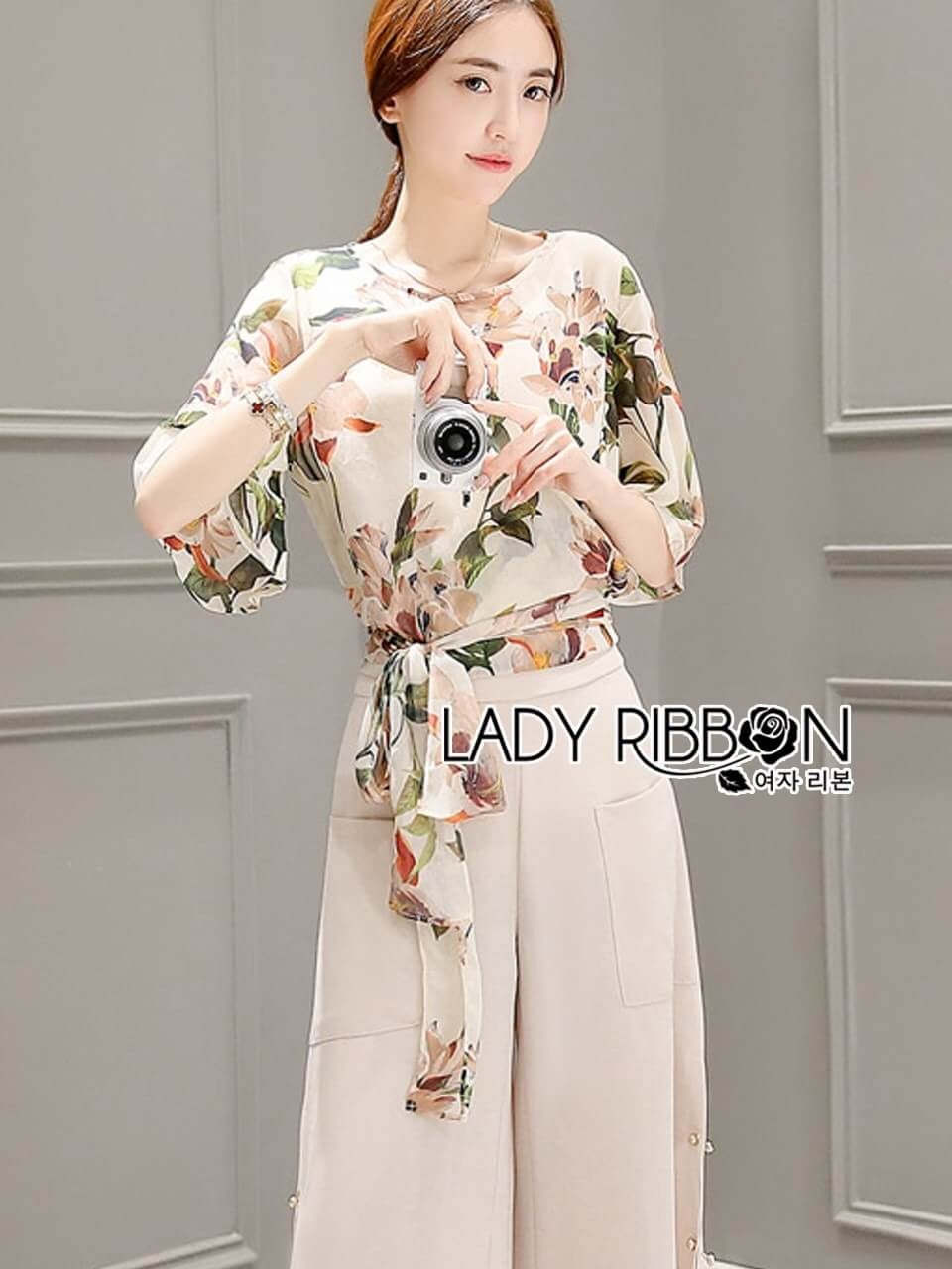 &#x1F380 Lady Ribbon's Made &#x1F380 Lady Feona Sweet Vintage Floral Printed Top and Culottes Set
