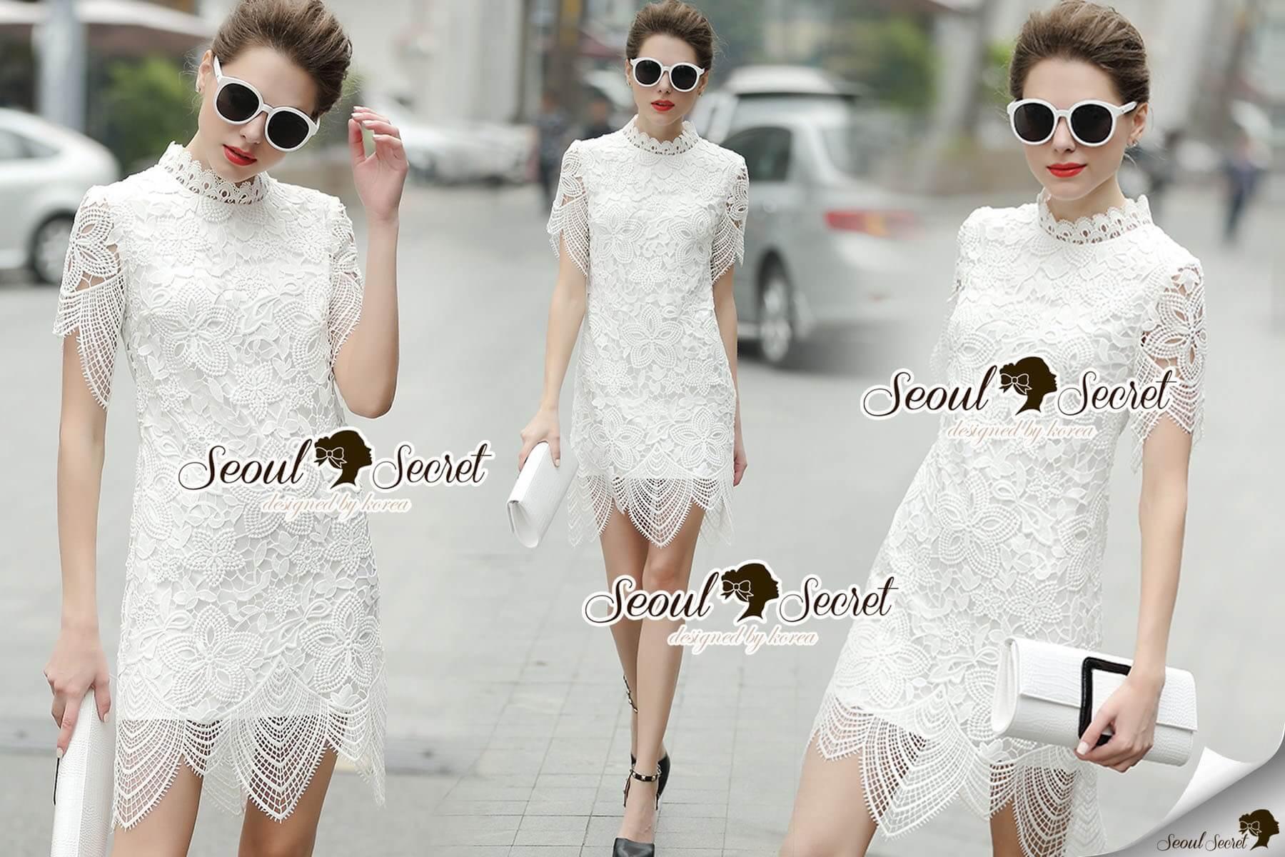 Seoul Secret Say's... Turtleneck Flora Ivory Lace Dress