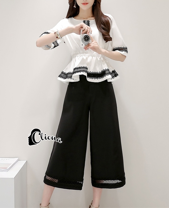Cliona made'Black And White Classic Elegant Top + Pant -Set