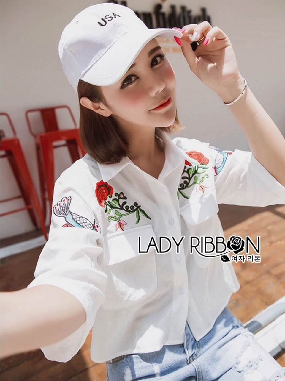 &#x1F380 Lady Ribbon's Made &#x1F380 Lady Jennifer Red Roses Embroidered Wide-Sleeve Polyester Shirt