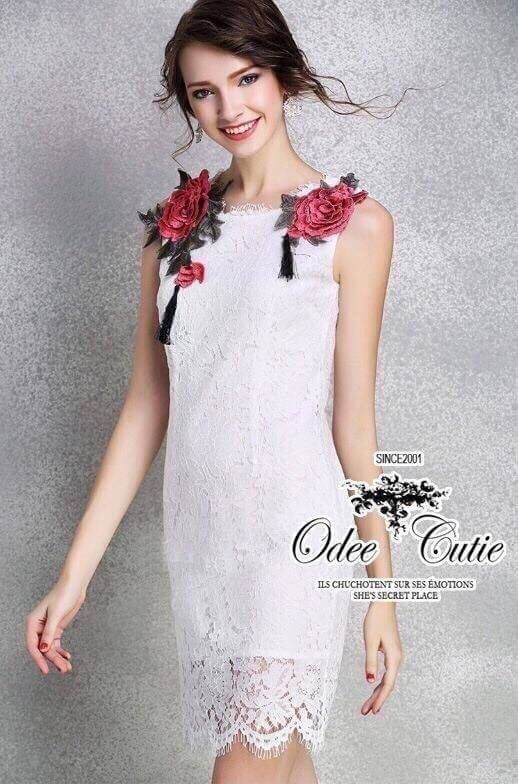 Roses embroidery lace dress &#x2661Odee&Cutie Daily Fashion 2016