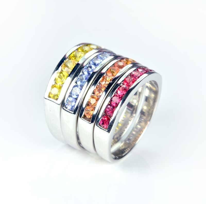 แหวนเงินพลอยแท้ แหวนเรียงแถว พลอยเสริมโชคลาภ