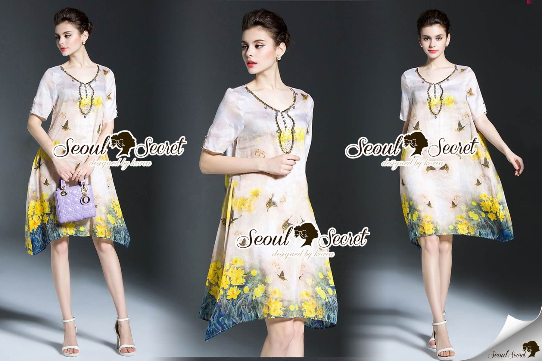 Seoul Secret Say's... Vintage Yellow Blossom Print Dress