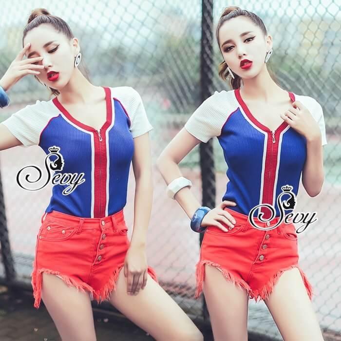 Sevy Sport Girl Knit V-Nack Zipper Front T-Shirt