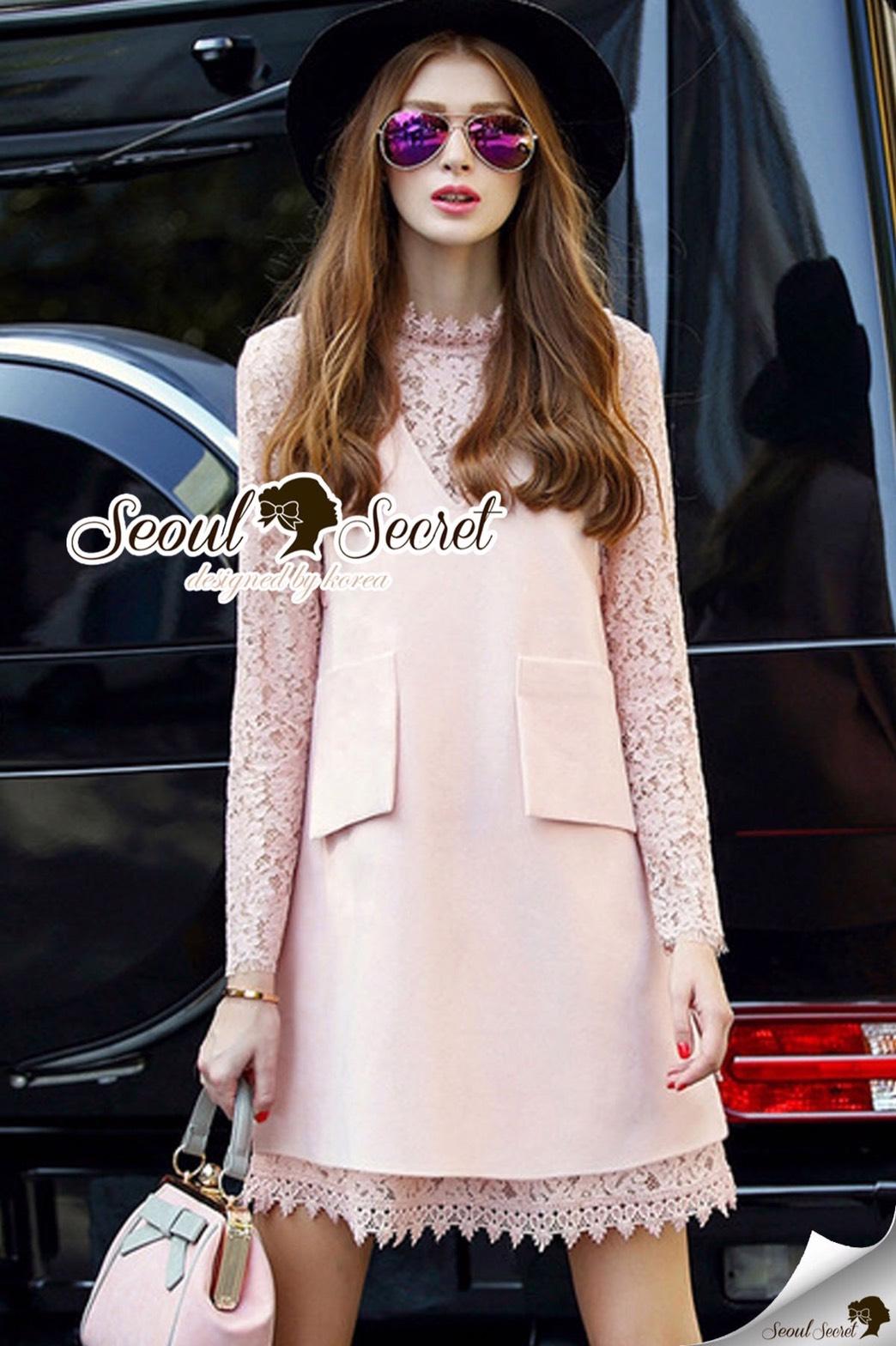 Seoul Secret Say's... Pastel Salmon Pink Girly Dress Outer Set
