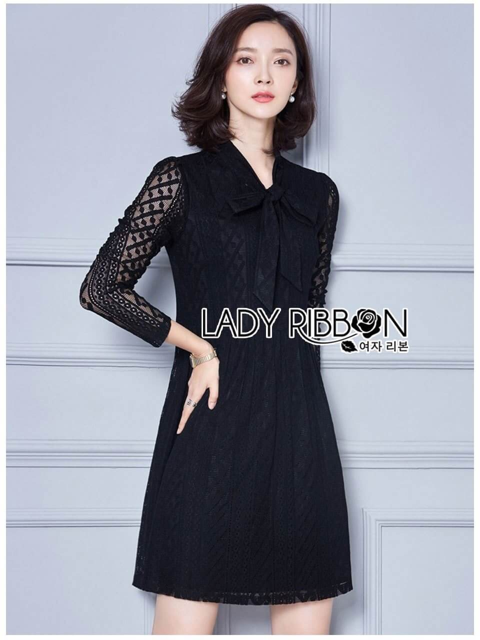 &#x1F380 Lady Ribbon's Made &#x1F380 Lady Kathy Sweet Feminine Black Lace Dress with Ribbon