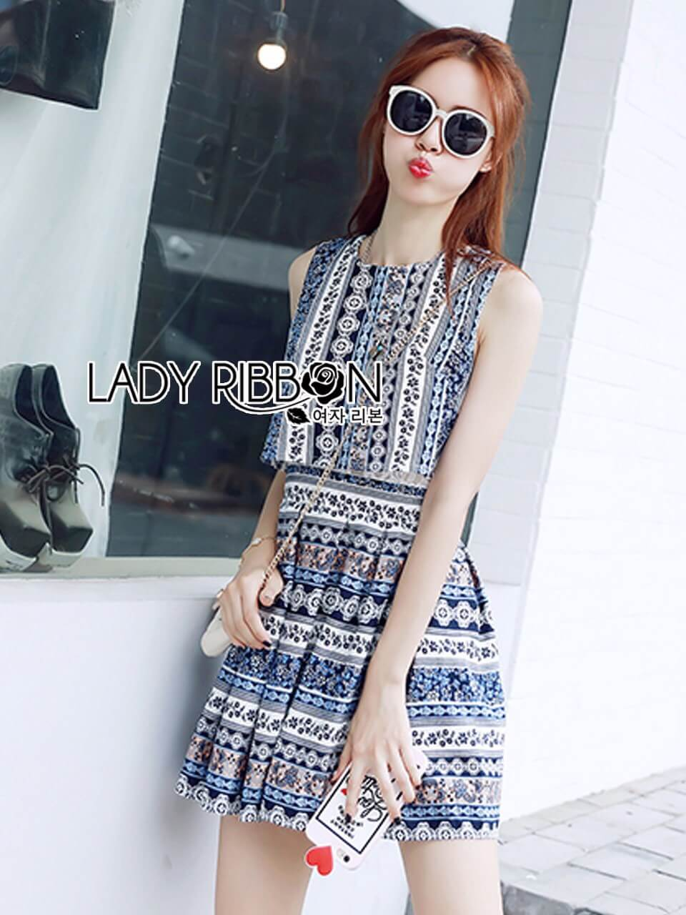 &#x1F380 Lady Ribbon's Made &#x1F380 Lady Alisa Casual Sunday Mixed Flower Printed Dress and Cropped Top