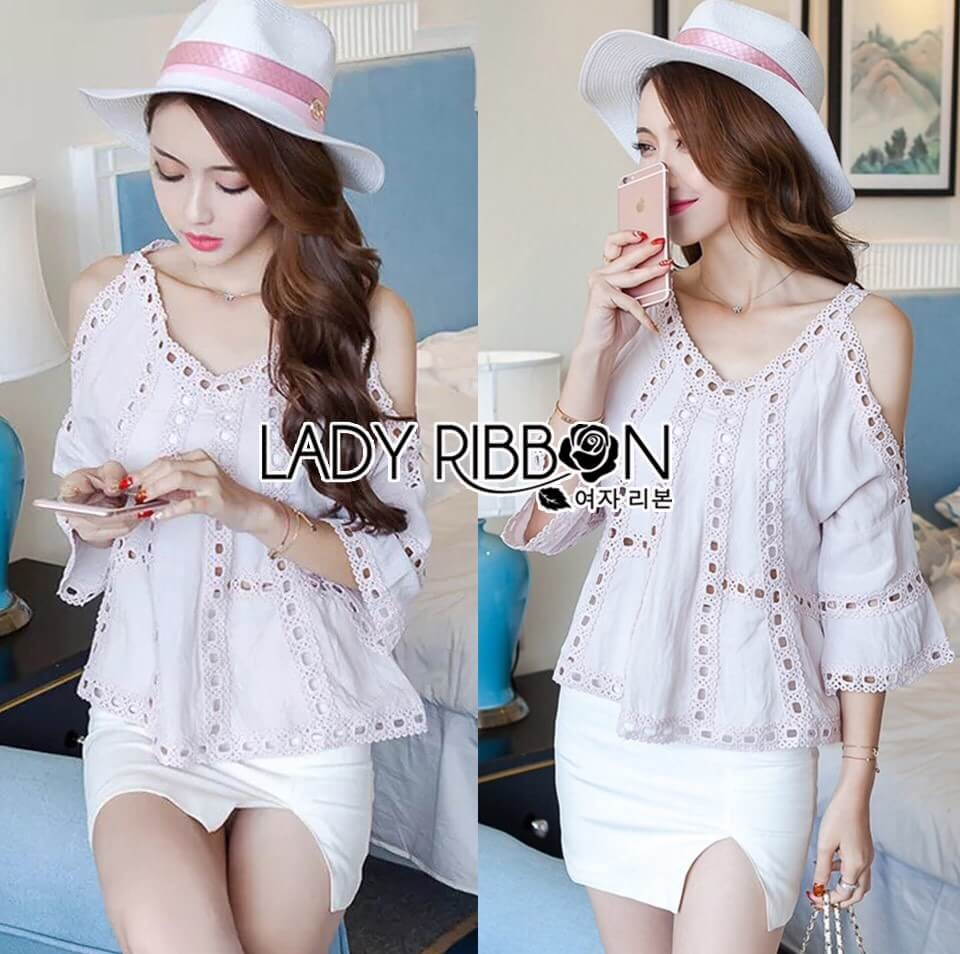 &#x1F380 Lady Ribbon's Made &#x1F380 Lady Karlie Cut-Out Off-Shoulder Embroidered Cotton Blouse