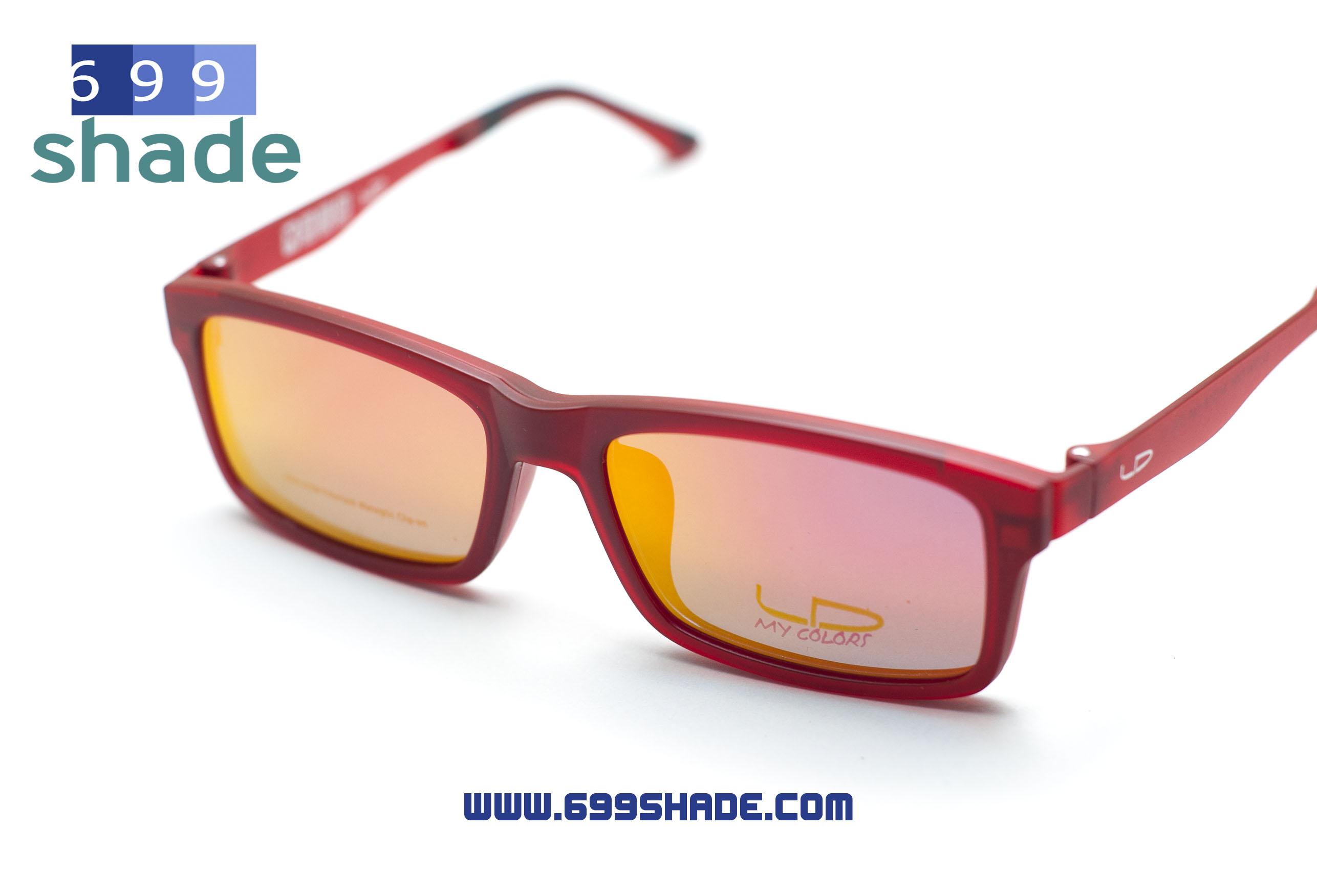 [LD7004 แดงด้าน-ปรอทชมพู] กรอบแว่นคลิปออนแม่เเหล็ก