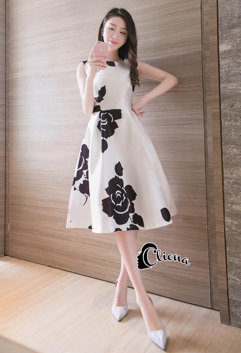 Cliona Made' Ch@nel Floral Line Dress -
