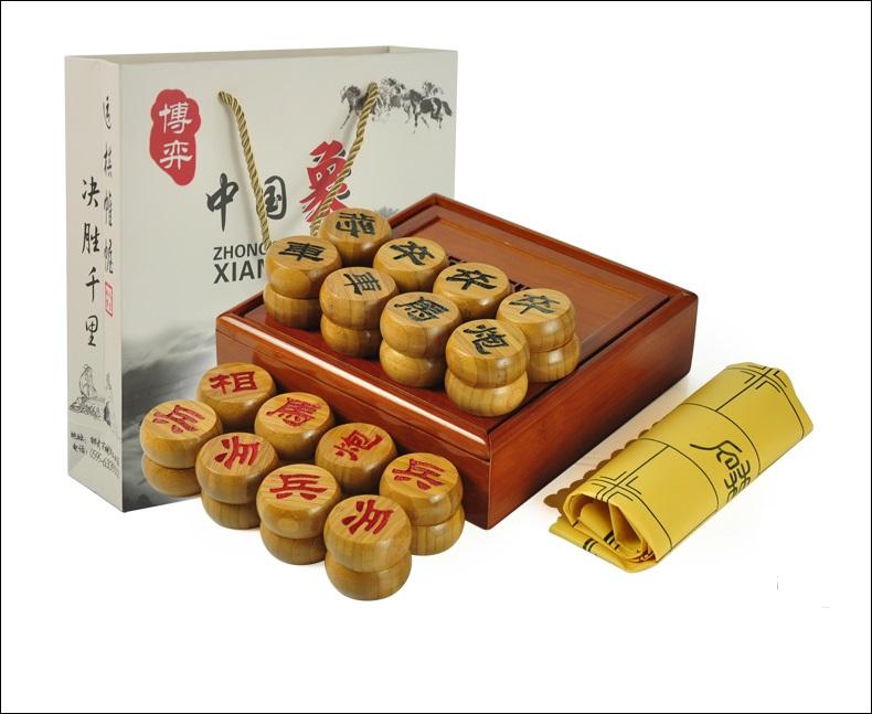 หมากรุกจีนไม้พร้อมกล่อง(ดำแดง)