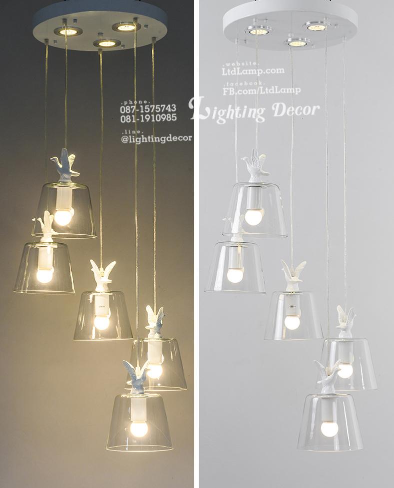 การติดตั้งโคมไฟห้อยเพดาน โคมไฟแก้ว โคมไฟระย้า แสงของโคมไฟแบบแสงสีเหลือง และแสงสีขาว