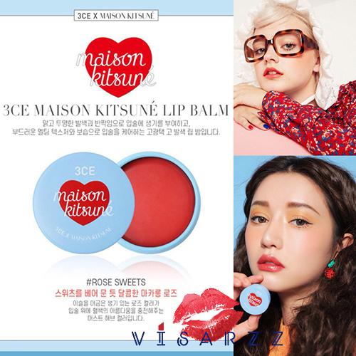 3CE Maison Kitsune Lip Balm 9g # Rose Sweets ลิปบาล์มเปลี่ยนสีตัวใหม่ล่าสุดจาก 3ce เนื้อลิปชุ่มชื่น ให้สีบางๆดูเป็นธรรมชาติ และยังบำรุงริมฝีปากให้เนียนนุ่ม