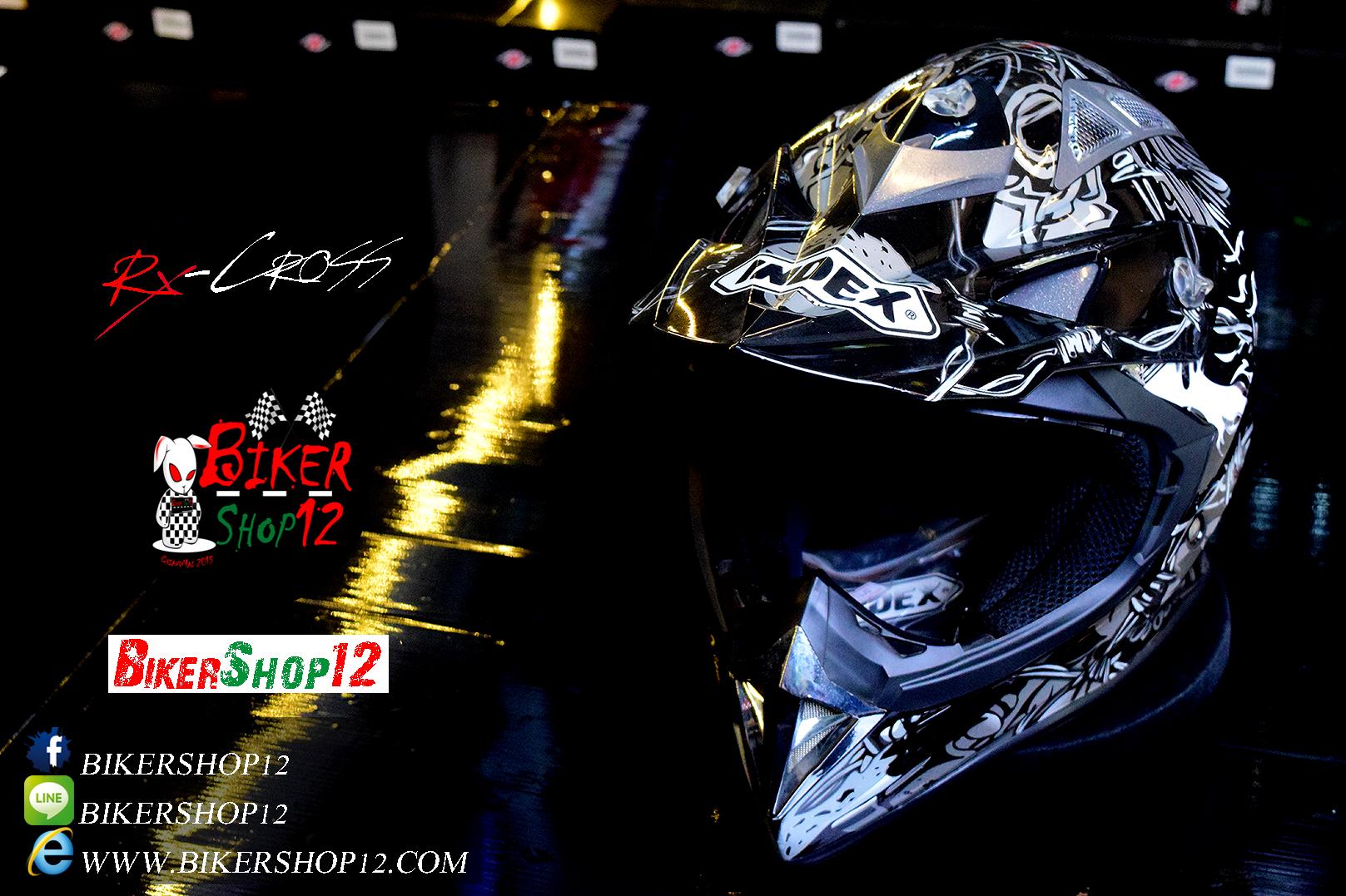 หมวกกันน็อควิบาก Index รุ่น Rx-Cross สีดำ-เงิน