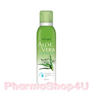 Vitara Aloe Vera Mineral Water Spray 100mL ไวทาร่า น้ำแร่ผสมว่านหางจะเข้ และน้ำมันเมล็ดองุ่น ช่วยบำรุง ลดอาการระคายเคืองรวมทั้งลดอาการร้อนผ่าวหลังออกแดด