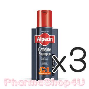 (ซื้อ3 ราคาพิเศษ) Alpecin อัลเปซิน คาเฟอีนแชมพู C1 250mL เสริมความแข็งแรงของเส้นผมในขณะสระผม คาเฟอีน จะยังทำงานอยู่แม้ว่าถูกล้างออกไปแล้ว