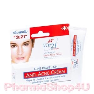 Vin21 Anti-Acne Cream 10mL วิน21 ครีมแต้มสิว แบบเร่งด่วน ลดการอักเสบของสิว ให้สิวแห้งและยุบเร็ว ช่วยสมานแผล