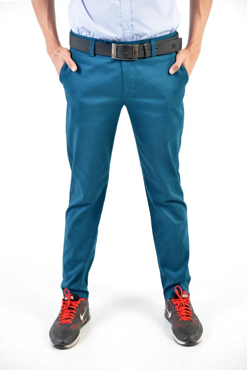กางเกงสแล็คผู้ชายสีฟ้าน้ำทะเล ผ้ายืด ทรงกระบอกเล็ก