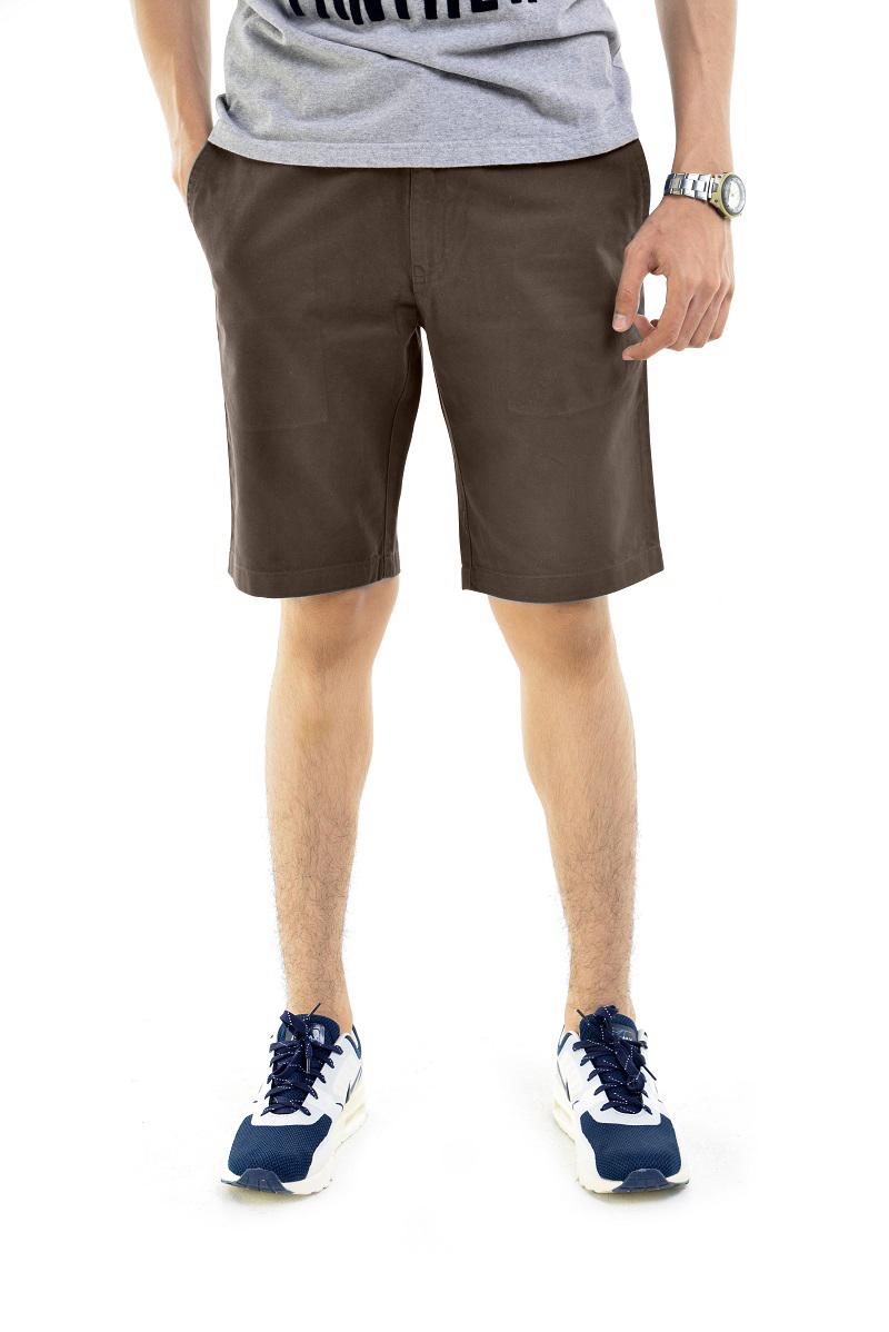 กางเกงขาสั้นผู้ชายสีกาแฟ ผ้าฟอกนิ่ม
