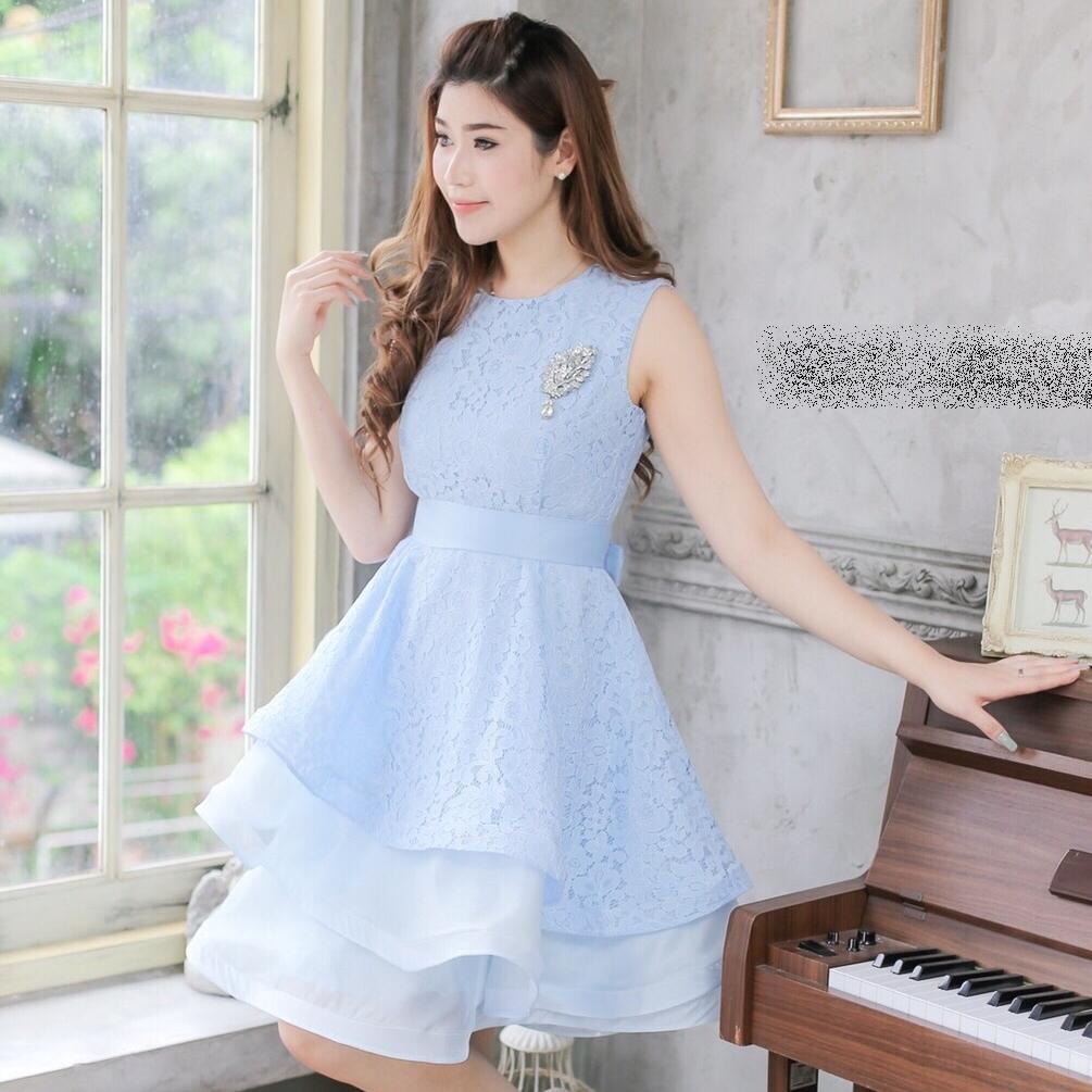 ชุดไปงานแต่งงาน ชุดออกงานสีฟ้าสวยหรู น่ารักๆ